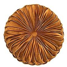 SUREH Almohada redonda de terciopelo de 15.7 pulgadas, hecha a mano, redonda, plisada, cojín relleno de silla de calabaza, cojín para el hogar, sofá, silla, cama, decoración del coche