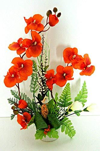 Orchideen im Topf Kunstblumen Tischdeko Künstliche Blumen Deko Dekoration K38 (Orange)