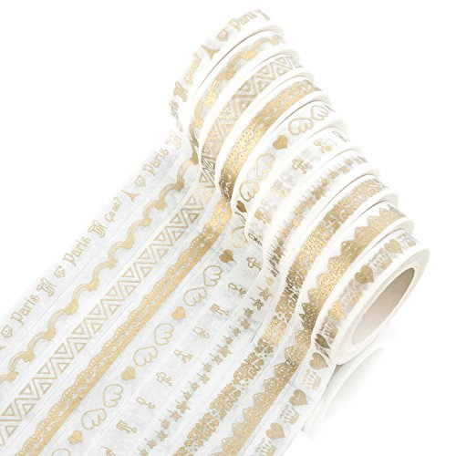Washi Masking Tape Set of 10 Rolls, All Girls Favorite, Bronzing Series for DIY Crafts, Scrapbook -Decorative, Creative, Re-positional, Multi-Purpose, Masking Tape(Mix)
