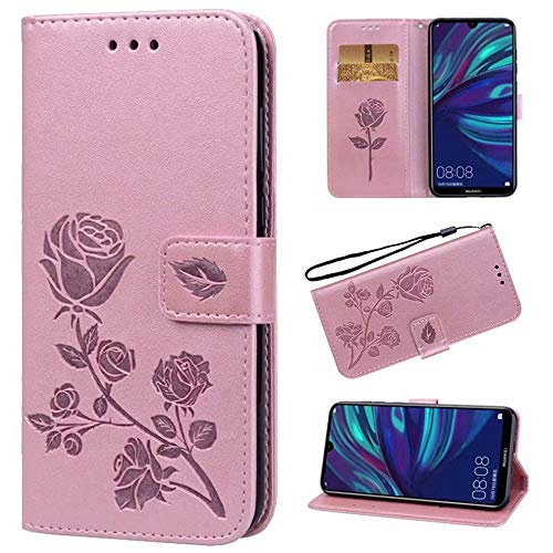 N / C for Sony Xperia XZ/XZS Case, Flip Case Cover for Sony Xperia XR Rose Embossed Pattern Premium PU Leather Wallet Stand Card Slots