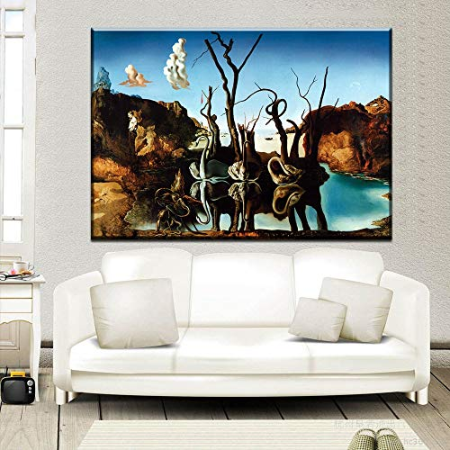 zhuziji DIY Malen nach Zahlen Dali Fantasie Schädel Krieg Uhr Surrealismus Klassische Malerei Kunst Malerei Wohnzimmer Wand Familie50x60cm(Kein Rahmen)