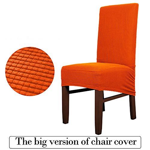 Große Größe Stuhlabdeckung Esszimmer Hotel Polyester Stoff Stretch Abnehmbare Waschbar Sitzbezüge Stuhlhussen-orange-Packof4