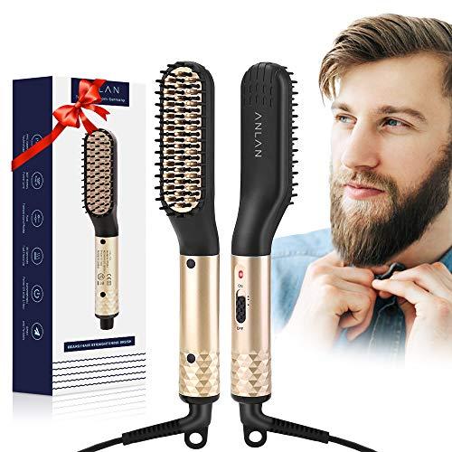 ANLAN Bartglätter Bürste Haar Glätter Kamm Elektrische Bartbürste 180-200℃ Thermobürste schnelle sichere Haarglättung für Männer und Bartträger