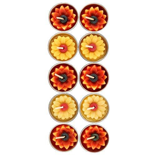 Cat Mad Designs - Caja de 10 velas de sol amarillas y naranja