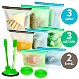 Silicone Bags Reusable Silicone Food Bag (8 Pack) Airtight Seal Food...
