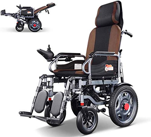 Power Wheelchair Heavy Duty Electric Wheelchair with Headrest,foldable Folding and Lightweight Portable Powerchair,electric Power or Manual Manipulation,adjustable Backrest and Pedal ,Comfortable and