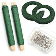Fomei 2 Packs Floral Arrangement Kit 1/ 2 Inch Floral Tape, 22 Gauge Floral Wire and 100 Pieces Ball Head Pins