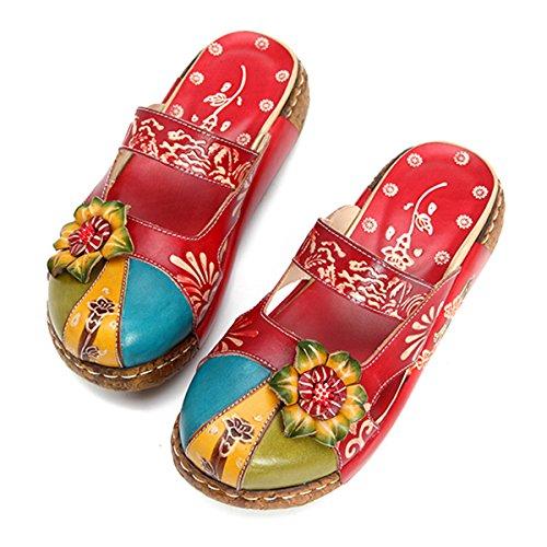 gracosy Zuecos Cuero Mujer, Zapatos Cuña Verano 2020 Tacon Plataforma Bohemias Casual...