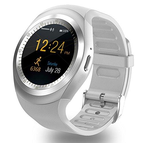 ZOMTOP Y1 Bluetooth SmartWatch - HD IPS rotondo schermo da tocco schermo cellulare con SIM TF Slot SmartWatch Pedometro Monitor Sonno Monitor per Android (bianco)