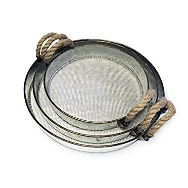 Round Metal Decorative Nesting Tray Set with Rope Handles, Vintage Rustic Distressed Design, Serving Trays for Country Kitchen, Coffee Table, Set of 3