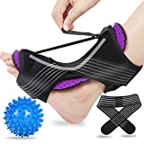2020 Updated Version Plantar Fasciitis Night Splint, Efferey Night Splint for Plantar Fasciitis, Adjustable Plantar Fasciitis Splint Night with Massage Ball and Bandage (Purple)