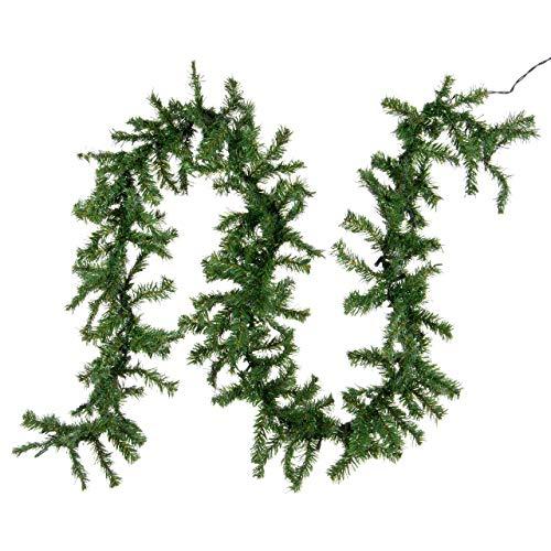 Nipach GmbH Weihnachtsgirlande mit 35er Mini-Lichterkette – Weihnachtsdeko Dekogirlande Tannengirlande Tannenzweig grünes Kabel innen – 2,7 m Xmas