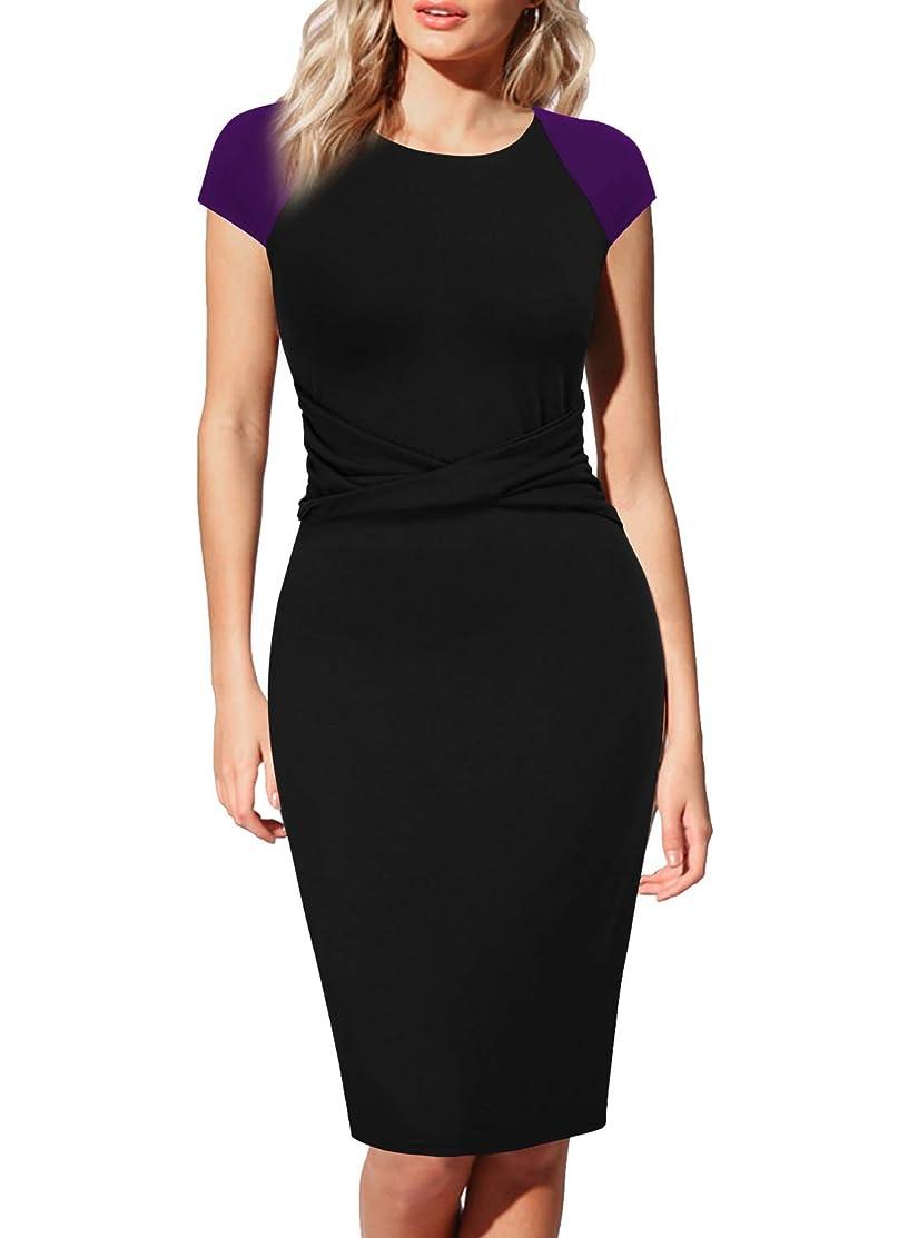 WOOSEA Womens Cap Sleeve Colorblock Pleated Bow Wear to Work Church Sheath Dress