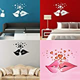 DaDago Love Kiss Lips Hearts Pattern Miroir Wall Art Stickers - Doré