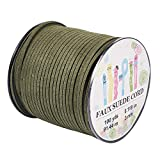 Pandahall 98Yard 90m/roll 3x1.4mm Faux Suede Cord String Leather Lace Beading Thread Suede Lace Double Sided with Roll Spool 295feet DarkOliveGreen