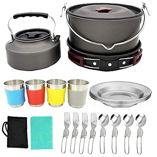 Hainice 22Pcs Picnic Cookware Set Camping Cookware Hiking Fishing Pot Kit Outdoor Cooking Tools for Backpacking (Black)
