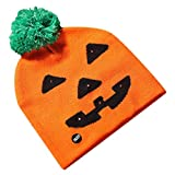 CapsA Halloween Pumpkin Hats Cap Costumes for Kids Halloween Shiny Knit Hat Children's Adult Hat Party Pumpkin Ghost with Light Cap