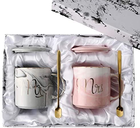 Mr and Mrs Coffee Mugs for Couple Unique Engagement Wedding and Bridal Shower Gifts for Bride product image
