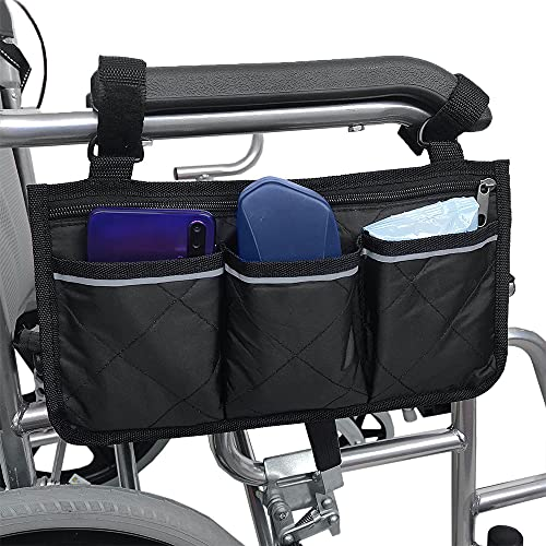 Gobesty Rollstuhltasche für Armlehne - Oxford Rollstuhl Tasche wasserdichte Tragbare Rollertasche mit 4 Fächern reflektierenden für Rollstuhl Griffe, Schwarz