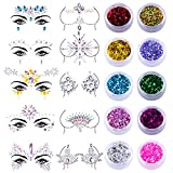 SIQUK 10 Sets Face Jewels Body Gems Stickers Mermaid Face Body Jewels Crystal Stickers with 10 Boxes Chunky Face Glitter for Festival Rave Party