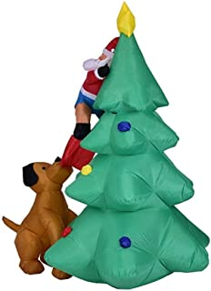 HOBBMS Inflatable Christmas Santa Claus Climbing On Christmas Tree Chased By Dog Decoration For Halloween, Christmas, Birthday Party Outdoor Activities Dog Biting Christmas Tree Old Man Inflatable Mod