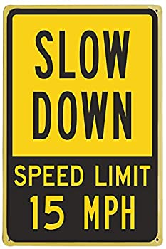 Monifith Slow Down Speed Limit 15 MPH Sign Yard Signs Outdoor Lawn Children Crossing Sign 8X12 Inch