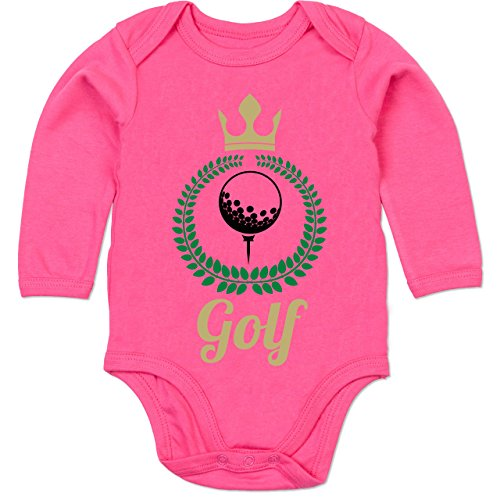 Sport Baby - Lorbeerkanz Krone Golf - 3/6 Monate - Fuchsia - BZ30 - Baby Body Langarm