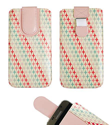 Emartbuy Stelle Rosa Cuoio PU Custodia Pouch Copertina Sleeve (Misura 5XL) con Meccanismo Linguetta Compatibile con Smartphone Elencati di Seguito