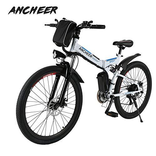 Ancheer Vélo Electrique 26' e-Bike VTT Pliant 36V 250W Batterie au Lithium de Grande Capacité et Le Chargeur Premium Suspendu et Shimano Engrenage (Blanc+Bleu)