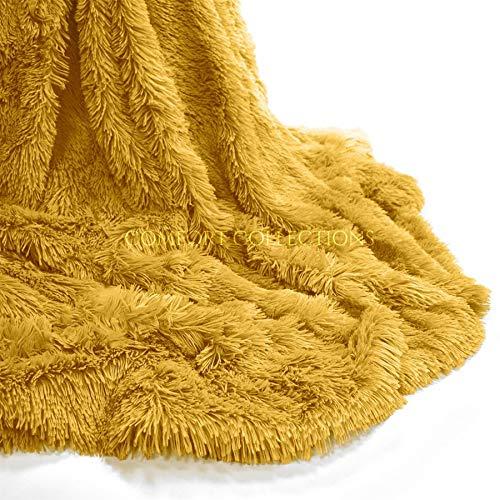 Comfort Collections Kuscheldecke aus Teddy-Fleece, kuschelig, flauschiges Kunstfell, Sherpa, wendbar, für Sofa oder Bett, superweich, warm und gemütlich, 150 cm x 200 cm, Ockerfarben