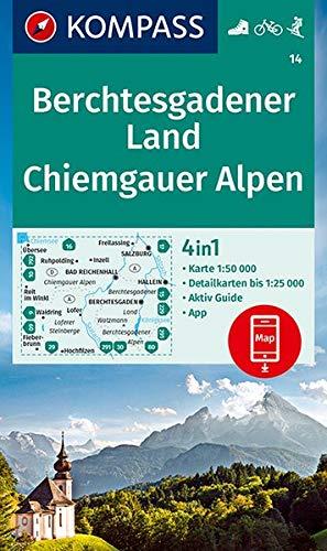 KV WK 14 Berchtesgadener Land, Chiemgauer A.: 4in1 Wanderkarte 1:50000 mit Aktiv Guide und Detailkarten inklusive Karte zur offline Verwendung in der ... Skitouren. (KOMPASS-Wanderkarten, Band 14)