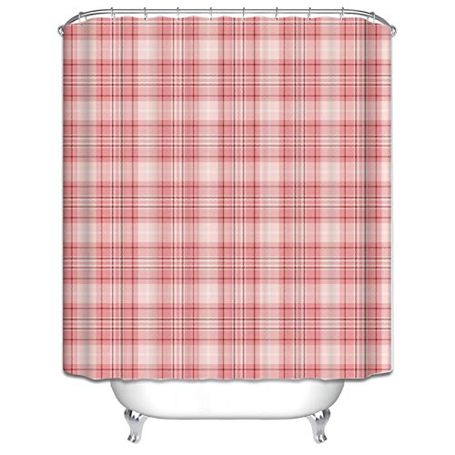 Bishilin Badvorhang Anti-Schimmel Karo Gitter 3D Lustiger Duschvorhang Polyester-Stoff120x180
