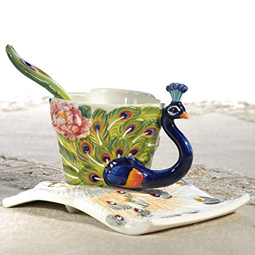 Copa De Vino Taza De Café Tazapeacock Coffee Cup Enamel Porcelain Tea Milk Cup Ceramic Cup With Spoon Saucer Set 3D Bone China Drinkwa
