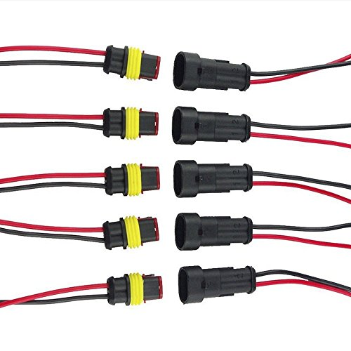 E Support&Trade; 5Pcs 2-Polig Kabel Steckverbinder Stecker Wasserdicht Schnellverbinder KFZ LKW Auto