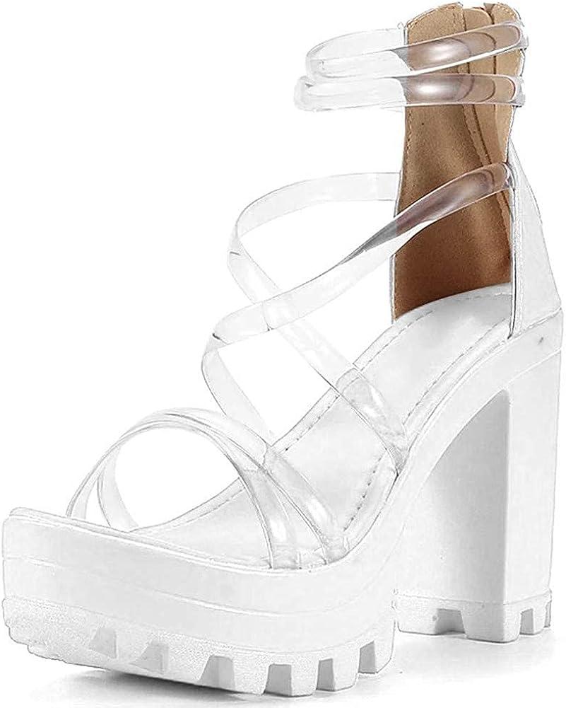 Womens Platform Faux Fur Sandals Chunky Heel Open Toe Ankle Strap Summer High Heeled Dress Pumps