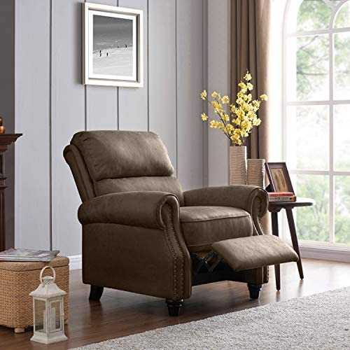 Best Domesis Cortez - Faux Leather Push Back Recliner Chair, Saddle Brown