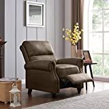 Domesis Cortez - Faux Leather Push Back Recliner Chair, Saddle Brown