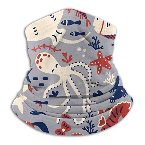 Marine Life Set Doodle - Juego de máscara para el cuello, diseño de tiburones y peces marinos, antideslizantes, ligeras, transpirables, para sol, viento, polvo, bandana, pasamontañas
