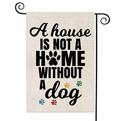 AVOIN A House is Not A Home Without A Dog Garden Flag Vertical Double Sided, Pawprints Flag Yard Outdoor Decoration 12.5 x 18 Inch