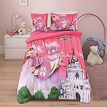 طقم لحاف مفرش سرير 4 قطع من اتش بي , ابيض ,Kelly-019