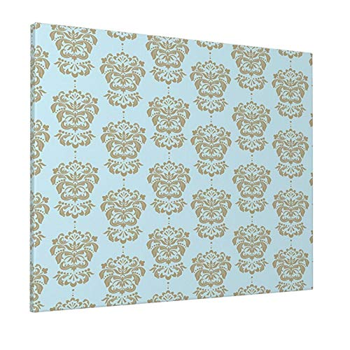 """Hat&C Damask Floral Pattern In Nostalgic Tones with Effects Out of Date Style Image Light Blue Cocoa Sepiapainting 16"""" X 20"""" Panoramic Canvas Wall Art"""