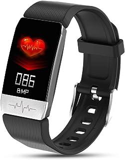 Grneric - Pulsera de fitness con pulsómetro, resistente al agua IP67, pantalla a color, monitor de actividad, podómetro, reloj para iOS y Android (negro)