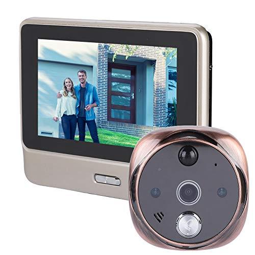 MWXDD2 3.5inches LCD Color Screen Electronic Door Bell Viewer IR Night Door Peephole Camera Photo Shooting+Video Recording Digital Door Camera,Black