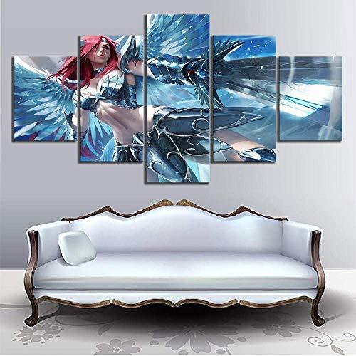 WEIGENG Impresiones en Lienzo, 5 Piezas Anime Fairy Tail Poster Modular Moderno Dormitorio decoración Pintura Pared Arte Imagen