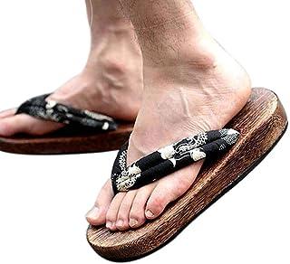 Zuecos de Madera japoneses para Hombres Sandalias Japón Zapatos Planos Tradicionales Negro y Blanco Dragón Patrón Geta