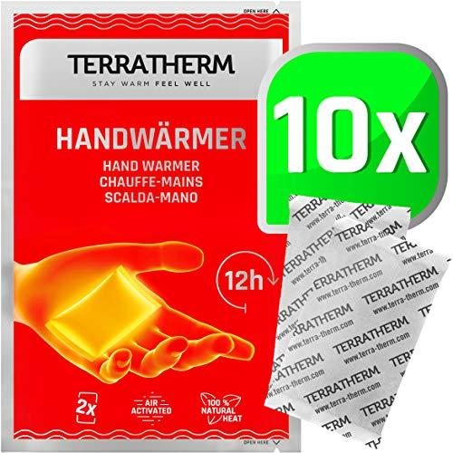TerraTherm Calentadores de Manos, calienta Bolsillos para 12 Horas de Manos Calientes, Almohadillas térmicas activadas por Aire, 100% Calor Natural, calienta Manos, 10 Pares