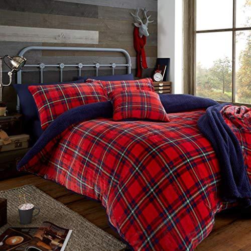 RB River Bank Teddy Bear Fleece Check Tartan Christmas Bedding Duvet Cover Set Cozy Warm Winter (Red, Double)