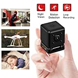 Mini Hidden Camera Small Spy Cam Motion Detection and Loop Recording Tinny Secret Cube Cop Cam for Indoor Outdoor Office Nanny Camera Security Sport Car DV Recorder
