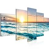 Runa Art - Cuadro Puesta De Sol Playa 200 x 100 cm 5 Piezas XXL Decoracion de Pared Diseño Beige Azul 023751a