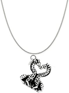 Sterling Silver Heart Shaped Kissing Giraffes Charm on a Box Chain Necklace